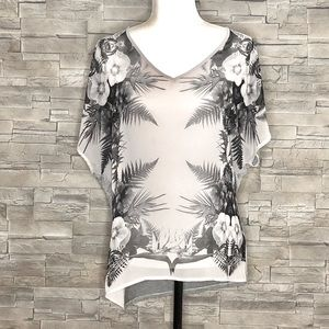 Pleione grey floral top